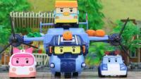 变形警车珀利在玩具小镇上巡逻, 叫来清洁车、翻斗车、救护车帮忙
