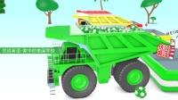 矿山自卸卡车运输彩球 家中的美国学校