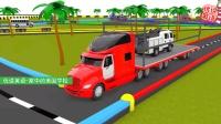 运输卡车装载消防车校车去染色 家中的美国学校