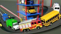 大卡车帮助工程车挖掘机小汽车玩具回到停车场