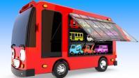 大大的巴士汽车带来很多彩球玩具