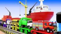 大轮船运来很多彩色的小汽车玩具