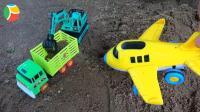 汽车挖掘机和飞机玩具试玩, 婴幼儿宝宝玩具游戏视频B840