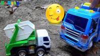 汽车挖掘机和工程车玩具试玩, 婴幼儿宝宝玩具游戏视频B854