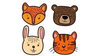 幼儿认知小动物 绘画小狐狸老虎小熊卡通形象简笔画学颜色