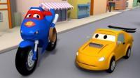 汽车总动员之超级卡车: 卡尔变身超级摩托车在巷子里追捕赛车泰勒