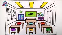 儿童教室绘画天花板黑板报课桌简笔画