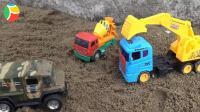 汽车挖掘机和恐龙玩具试玩, 婴幼儿宝宝玩具游戏视频F101