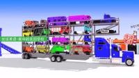 4层运输卡车运18辆汽车严重超载 家中的美国学校