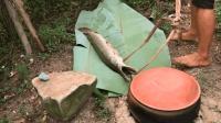 原始技术, 小伙用木棍捕鳄雀鳝鱼, 割下鱼肚子上最嫩的肉蒸着吃