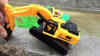 汽车挖掘机和恐龙玩具试玩, 婴幼儿宝宝玩具游戏视频B885
