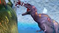 恐龙特效  霸王龙激战棘背龙, 被冰锥刺死