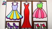 公主衣橱绘画 礼服长裙水晶高跟鞋简笔画学颜色