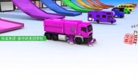 轨道上染色的消防车校车 家中的美国学校
