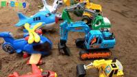 汽车挖掘机和飞机玩具试玩, 婴幼儿宝宝玩具游戏视频 A891