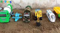 汽车挖掘机和飞机玩具试玩, 婴幼儿宝宝游戏玩具视频H545
