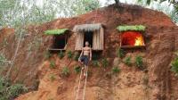 山洞庇护所扩建, 如今变成两室一厅了, 三个洞连在一起!