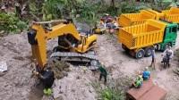 挖掘机在野外发现了美味的巧克力豆 卡车过来运送 挖掘机 推土机 钩机工作视频