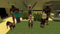 GMOD游戲哥爾贊怪獸想要偷走村莊的稻草被狗狗當場逮住