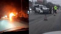 面包车与越野相撞起火 致5人死亡7人受伤