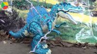 汽车挖掘机和公交车遇到恐龙, 婴幼儿宝宝游戏玩具视频A414
