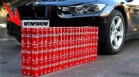 老外为了炫耀自己的豪车, 用它来碾压100瓶可乐, 网友: 壕无人性
