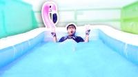 戏精小哥挑战在1000磅非牛顿流体中泡澡