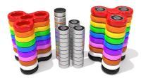 彩色指尖陀螺玩具组成彩虹陀螺