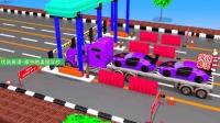 卡车运输超跑通过高速路收费站 家中的美国学校