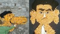 70岁奶奶用玉米做创意画 摆出王思聪吃热狗