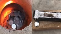 老外把1000枚硬币被熔化成铝水, 网友: 贫穷限制了想象力!