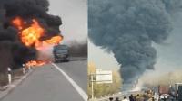 河北两柴油罐车追尾起火 致2人死亡