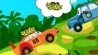 儿童教育动漫卡通: 挖掘机帮披萨车捡起掉在马路上的披萨, 警车抓捕了偷东西的小赛车