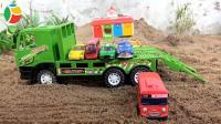 汽车玩具染色, 挖掘机和工程车种花, 婴幼儿宝宝玩具游戏视频G45