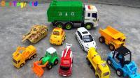 汽车挖掘机和恐龙玩具试玩, 婴幼儿宝宝玩具游戏视频F229