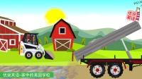 装载机拖车拖拉机给农场铺石子路 家中的美国学校