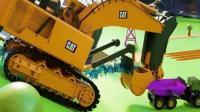 儿童工程车动漫 超级挖掘机吊车翻斗车运输车合作建造灯塔