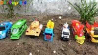 汽车挖掘机和轿车玩具试玩, 婴幼儿宝宝游戏玩具视频H595