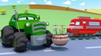 火车特洛伊: 拖拉机本的农田被水淹了, 特洛伊带来挖掘机帮忙排涝