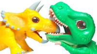 恐龙乐园 侏罗纪世界 恐龙多多 三角龙霸王龙拆箱玩具