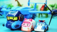 变形警车珀利新玩具 会发声还会亮灯的卡利运输机