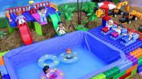 用积木海边建一个游泳池