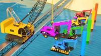 玩具总动员: 吊车把彩色挖掘机吊到河里工作