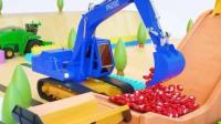 汽车总动员: 水泥搅拌车 挖掘机 推土机 卡车一起制造许多彩色的糖果