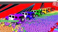 崭新的越野警车需要用彩球染色 家中的美国学校