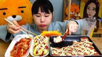 韩国吃播 美食吃货弗朗西斯卡妹 午餐肉和鸡蛋卷