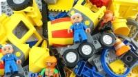 积木零件组装工程车升降台玩具