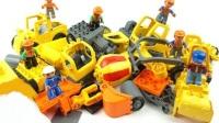 积木零件组装各式工程车玩具