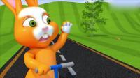 幼儿益智动画, 3D小宝贝和绿兔滑滑板车发现一窝鸟蛋学习英语