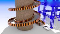 幼儿益智动画, 3D跑车圆形轨道上停车场彩球变颜色, 学习英语